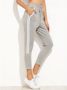 Shop Grey Striped Side Drawstring Sport Pants online. SheIn offers Grey Striped Side Drawstring Sport Pants & more to fit your fashionable needs.