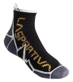 La Sportiva Long Distance Sock Black / Yellow Medium. Asymmetric cut. Anti-bacterial treatment. 3 Pairs per package.
