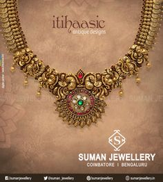 Explore the exquisite blend of tradition & trendy designs that will remain timeless at Suman jewellery Antique Necklace, Antique Jewelry, Antique Gold, Gold Necklace, Jewelry Design Earrings, Gold Jewellery Design, Bridal Jewelry Vintage, Gold Jewelry Simple, Marriage Jewellery