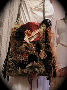 Gypsy carpet bag handmade bohemian style with black fringe and embellished with beads and buttons. Tapestry chenille fabric is thick, sturdy and Handmade Fabric Bags, Handmade Purses, Handmade Handbags, Textiles, Gypsy Bag, Ethnic Bag, Carpet Bag, Chenille Fabric, Clothing And Textile