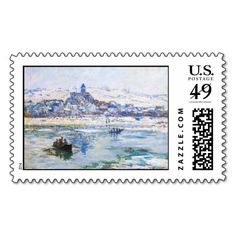 Vetheuil in Winter Claude Monet Postage Stamp $10 OFF FOR A SHEET OF POSTAGE STAMPS TODAY!!!!---- USE CODE:  ZWEEKOFDEALS