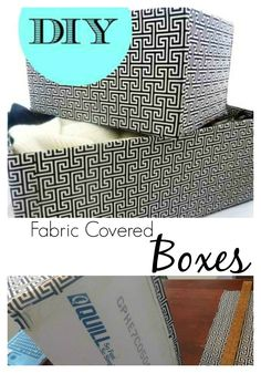 DIY Fabric Covered Boxes Tutorial via Bliss at Home...cover cardboard boxes with fabric--genius!