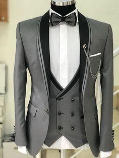 Men's Suits - Abboud Smokin Grey Plaid Suit Dress Suits For Men, Men Dress, Mens Fashion Suits, Mens Suits, Grey Suits, Engagement Dress For Men, Terno Casual, Mode Costume, Designer Suits For Men