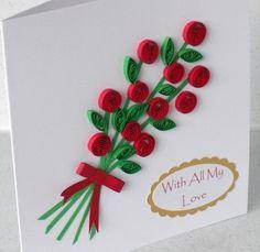 Quilled tarjeta de San Valentín con el saludo por PaperDaisyCards