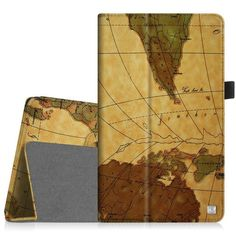Fintie Dragon Touch M8 Folio Case - Premium Vegan Leather Cover with Stylus Holder for Dragon Touch DT-M8 / Dragon Touch M8 2016 Edition 8' Android Tablet PC, Map Brown * Want to know more, click on the image.