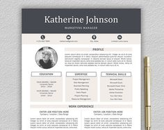 Modern Resume Template For Word And Pages   Page Resume