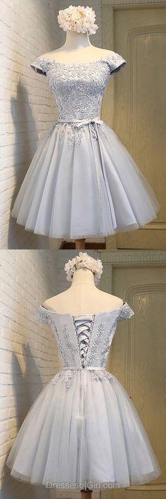 Grey Prom Dress, Off the Shoulder Prom Dresses, Short Homecoming Dress, Tulle Homecoming Dresses, Satin Cocktail Dresses