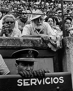 Pamplona. Hemingway in a bullfighting, 1950s. // by  Francesc Catalá Roca