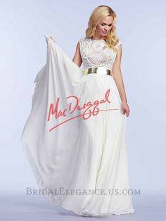 Gorgeous prom gowns featuring sequins and beads, elegant lace, romantic florals, and daring styles. Discover why Mac Duggal designs are the dream dresses of so many girls Ivory Prom Dresses, Prom Dresses 2015, Designer Prom Dresses, Bridal Dresses, Prom 2015, Maxi Dresses, Evening Dresses, Bridesmaid Dresses, Chiffon Gown