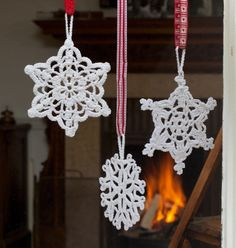 Crocheted snow flakes.  Wish I was better at that craft!