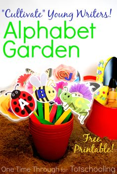Playful Alphabet Garden with Free Printable. Great preschool activity for Spring! Practice letters, writing your name, writing words, etc while gardening.