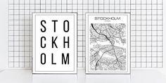 Stockholm print Set of two Stockholm map street Stockholm city