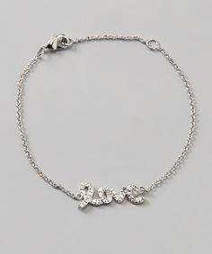 Diamond & Silver 'Love' Bracelet