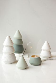 Our Candle and Incense Tree Stack includes a 5.5 oz. stackable candle and an incense holder. Inspired by native cypress trees, cozy fireplaces, and the feeling of togetherness, these textured ceramic pieces offer beautiful and functional décor to any holiday space. Cypress & Fir is a fine fragrance with notes of frosted fir needle, white eucalyptus, and crushed pine cone to bring the aroma of a fresh forest into your home. Christmas Tree Scent, Christmas Tree Candles, Green Christmas, Christmas Time, Christmas Decor, White Candles, Soy Wax Candles, Scented Candles, Green Candles