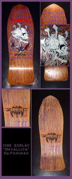 NOS Zorlac Metallica skull and bones deck. Love that stain! Real Skateboards, Vintage Skateboards, Skate Decks, Skateboard Decks, Skate Extreme, Skate Art, Cool Deck, Longboards, Skull And Bones