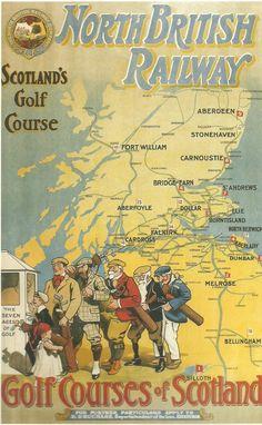 BRITISH TRAIN POSTERS - Railway Transport Poster 11: Golf Courses of Scotland NBR JUL16