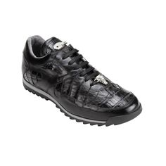Belvedere Ferro Caiman & Calfskin Sneakers Black