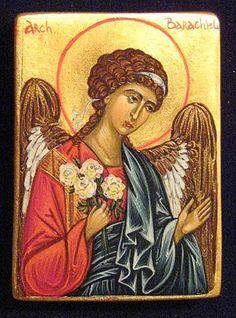 Icon of Archangel Barachiel painted by Marchela Dimitrova