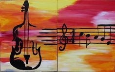 Violin en Rose Partner Painting at Mateys Irish Pub Cello Kunst, Cello Art, Spring Painting, Diy Painting, Multiple Canvas Paintings, Violin Painting, Musik Illustration, Wine And Canvas, Couple Painting