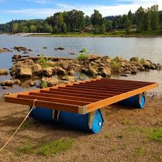 "This is a floating dock that's easy to make and works beautifully. Here is quick parts list of everything I used:4 - 2x8"" pressure treated lumber. 8 feet long.7 - 2x4"" pressure treated lumber. 8 feet long.17 - 1x6"" pressure treated lumber. 8 feet long.4 - 4x4"" pressure treated posts. 8 inches long.4 - 55gallon plastic Barrels100ft of Rope16 - Screw in Eye Hooks10 to 20 - L shape bracesGalvanized screws and NailsDrill/Screw DriverHammerSilicone Caul..."
