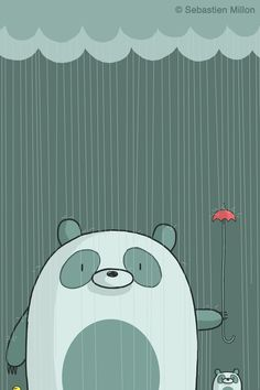 Papa Panda and Little Panda in the Rain - Sebastien Millon / Art & Illustration