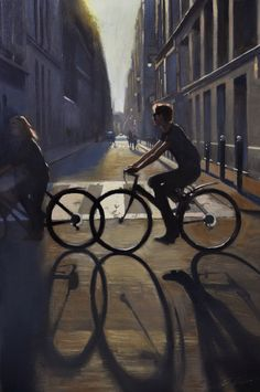 """Cityscape painting, """"Summer ride"""" 12x18in., by Jonathan Ahn"""