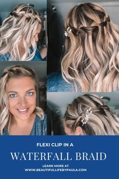 A lovely Waterfall Braid hairstyle in a pretty Lilla Rose Flexi clip! Secure and comfortable hair clip for any hairstyle or hair type! Click to learn more! #braids #braidhairstyles Heatless Hairstyles, Cute Hairstyles, Braided Hairstyles, Hairdos, Natural Hair Care, Natural Hair Styles, Long Hair Styles, Different Braid Styles, Natural Hair Conditioner
