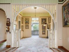 19 Qualtrough Street, Woolloongabba, Qld 4102 - Like the proportions of this one, with the full curve into the divider. Australian Architecture, Australian Homes, Classical Architecture, Queenslander House, Cottage Renovation, Arched Doors, Old Mansions, Character Home, Unusual Homes