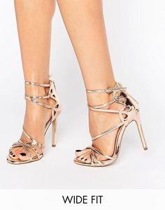 River Island | River Island Wide Fit Metallic Cross Strap Heeled Sandals