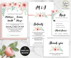 Floral Wedding Invitation Printable Rustic Invitation Suite