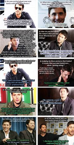 """(gif set) """"AU: Dean Winchester and Castiel Novak are two of the biggest movie stars on the planet and they've been secretly dating for the better part of two years. When Dean's public girlfriend, upcoming indie actress Jo Harvelle, 'breaks up' with him to start dating Charlie Bradbury coincides with him landing the role of a lifetime opposite Cas, that whole """"secretly dating"""" thing? Yeah, that's shot to hell."""" 