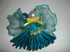 Wired Ribbon Angel Pin; Turquoise Ribbon, Glass Pearls, Wings,  | ShirleysNookandCranny - Jewelry on ArtFire