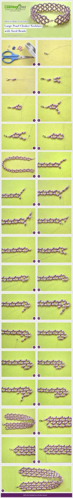 How to Make Your Own Large Pearl Choker Necklace with Seed Beads by Jersica