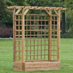 2m Wide Wooden Garden Pergola With Planter   Internet Gardener