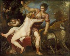 Venus and Adonis Titian (Tiziano Vecellio) (Italian, Venetian, born ca. 1488, died 1576) Oil on canvas  42 x 52 1/2 in. (106.7 x 133.4 cm) The Jules Bache Collection, 1949 (49.7.16)
