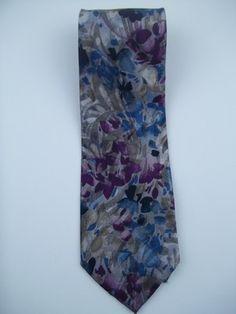 Wembley Gray Blue Purple Floral Print 100% Silk Designer Mens Tie #3111 on eBay!