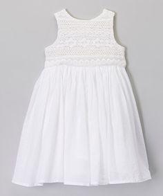 Look what I found on #zulily! White Lace Yoke Dress - Toddler & Girls #zulilyfinds