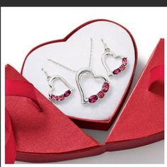 "Heart necklace & earrings set❤️❤️ ❤️valentines day ❤️  Love at First  Faux stones and rhinestone accents. Silvertone. Necklace, 16 1/2"" L chain with a 3 1/2"" extender. Pierced earrings. Heart-shaped gift box.❤️brand new ❤️never worn ❤️still in original box & packaging no trades or paypal Avon Jewelry Necklaces"