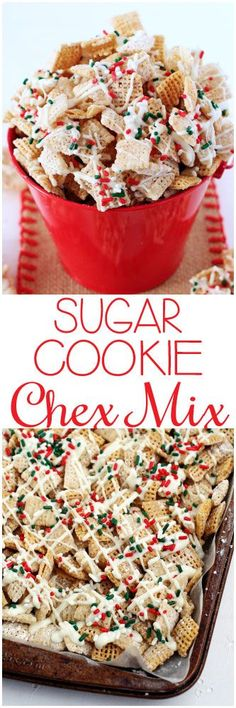 Sugar Cookie Chex Party Mix - Dessert Recipes for Kids Holiday Snacks, Christmas Snacks, Holiday Recipes, Party Snacks, Christmas Chex Mix, Christmas Cookies, Christmas Puppy Chow, Christmas Recipes, Party Treats