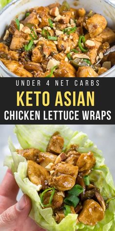 These Keto Asian Chicken Lettuce Wraps are the perfect one pan, 30 minute meal under 4 net carbs per serving! #keto #lettucewraps Ketogenic Recipes, Diet Recipes, Healthy Recipes, Asian Recipes, Recipies, Recipes For Cooked Chicken, Recipes Dinner, Recipes For Lunch, Health Chicken Recipes