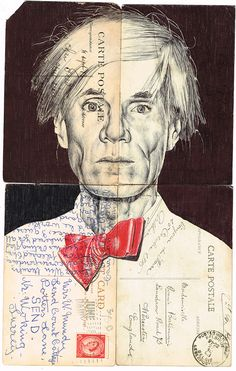Andy Warhol by Mark Powell - Bic biro drawing on a collection of vintage postcards. Andy Warhol, Biro Drawing, Drawing Artist, Biro Art, Collages, Collage Art, Pop Art, Illustrations, Illustration Art
