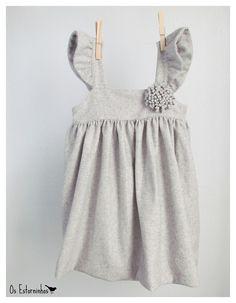 Girls gray wool dress