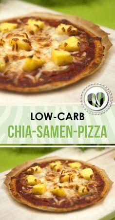Die Chia-Samen-Pizza ist low-carb und glutenfrei. Sie schmeckt ausgezeichnet und kann nach Wunsch belegt werden.