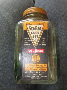 Vintage 1940s STABAC Curl Set Glass Bottle ViJon by kookykitsch, $30.00