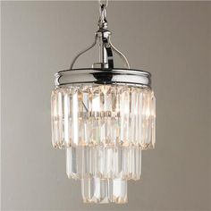 "Two of these might be super pretty and glam for the walk i closet.  It can be mounted as a semi flush mount instead of a pendant so would come down 13"" from ceiling.  Comes in dark metal finish too Modern Faceted Glass Layered Pendant - Convertible"
