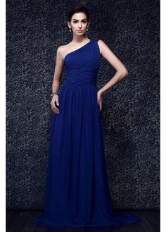 Simple Design One Shoulder Formal Womens Clothing Chiffon Straight Royal Blue Dresses Vestido De Festa Longo Long Evening Dress