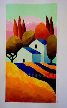 Landscape Quilts, Landscape Art, Abstract Canvas, Canvas Art, Naive Art, Pastel Art, Whimsical Art, Diy Art, Art Lessons