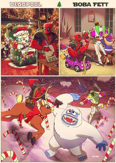 #Deadpool #Fan #Art. (Deadpool n' Boba Fett X-Mas!) By: M7781. (THE * 5 * STÅR * ÅWARD * OF: * AW YEAH, IT'S MAJOR ÅWESOMENESS!!!™) [THANK U 4 PINNING!!!<·><]<©>ÅÅÅ+(OB4E)