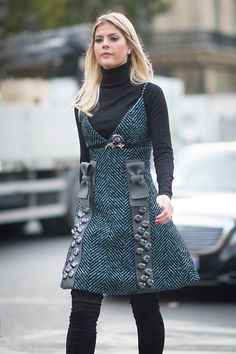Lala Rudge in the streets of Paris during the Paris Fashion Week on October 5…