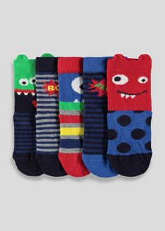 Boys 5 pack sock with monster faces and stripe and slogans.